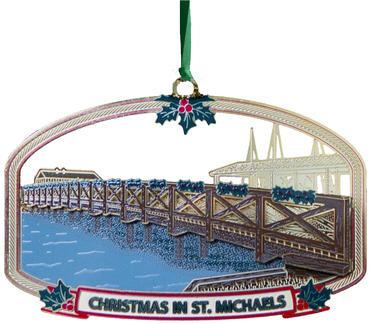 the fifteenth annual christmas in st michaels collectors ornament shows the local landmark honeymoon bridge a popular footbridge connecting the town with - Christmas In St Michaels